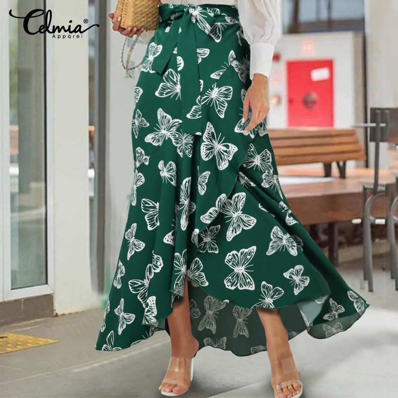 Plus Size 5XL Celmia Women's Maxi Skirts Casual High Waist Butterfly Printed Long Skirts Loose Asymmetrical Belted Ruffles Skirt