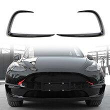 테슬라 모델 Y 2020 2021 용 전면 포그 라이트 커버 눈썹 커버 트림 프레임 교체 1 쌍 자동차 액세서리