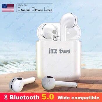 Original Apple-AirPods i12 TWS auriculares inalámbricos Control táctil Bluetooth auriculares Air auriculares manos libres con micrófono para iPhone Android