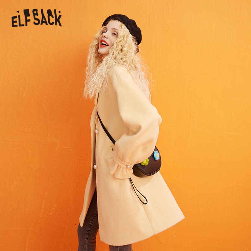 ELFSACK оранжевое одноцветное однобортное прямое шерстяное пальто для женщин 2020