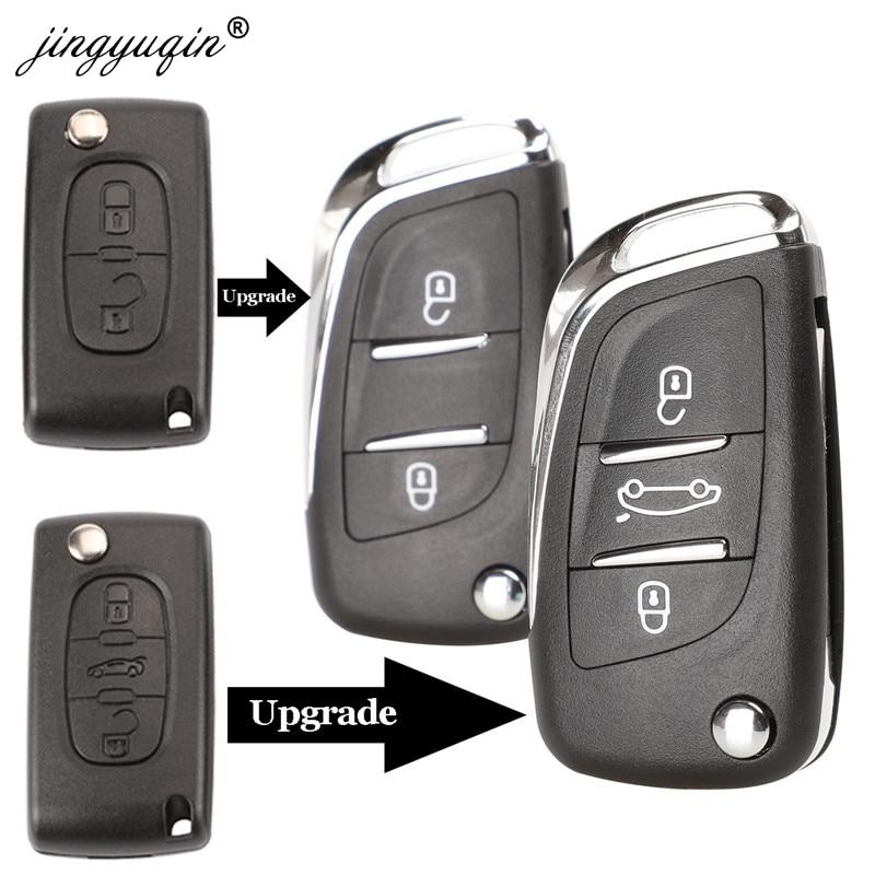 Carcasa de llave abatible plegable modificada para Peugeot 306 407 807 mando a distancia VA2/HU83 con botón de 2/3