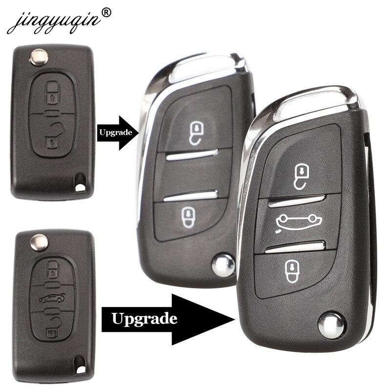 Jingyuqin CE0523 Geändert Flip Folding Key Shell Für Peugeot 306 407 807 Partner Remote VA2/HU83 Klinge Entry Fob fall 2/3 Taste