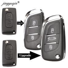 Jingyuqin CE0523 zmodyfikowana klapka obudowa składanego kluczyka dla Peugeot 306 407 807 Partner pilot zdalnego VA2 HU83 ostrze wejścia obudowa pilota 2 3 przycisk tanie tanio Car Key fob case For Peugeot ABS + Metal China Key shell Replacement