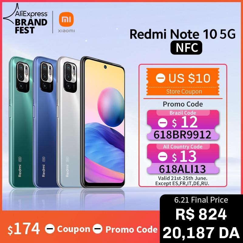[Мировая премьера В наличии] Глобальная версия Xiaomi Redmi Note 10 5G NFC Смартфон Dimensity 700 90Hz FHD+ Дисплей 48Мп Камера 5000мАч