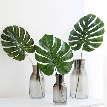 Simulation Turtle Leaf Artificial Fake Monstera Palm Leaves Green Plants Wedding DIY Decoration Arrangement Plant Leaf For Home image