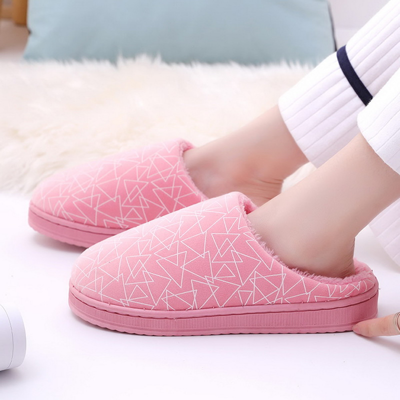 SHUJIN Winter Slippers Men Coral Velvet Slippers Housewarm Soft Slippers Home Indoor Cotton Striped Couple Floor Plush Shoes