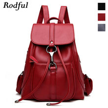Draw String Women's Leather Backpack 2020 Big College Student School Backpack Bag Back Pack for Women Teens Youth Casual Daypack(China)