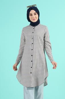 Minahill Mink tunika moda muzułmańska islamska odzież skromne topy arabska odzież długa tunika dla kobiet 2518-03 tanie i dobre opinie TR (pochodzenie) tops Aplikacje Bluzki i koszule Octan Dla dorosłych