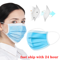 50pcs Face Mouth Protective Mask Disposable 3 Layers Filter Anti Dust Earloop Non Woven Mouth Mask ffp3 ffp2 mask|Masks| |  -