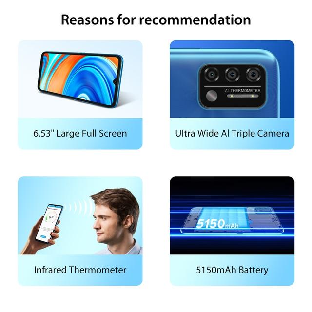 "In Stock UMIDIGI A9 Smart Phone Android 11 Global Version 13MP AI Triple Camera Helio G25 Octa Core 6.53"" HD+ 5150mAh Cellphone 2"