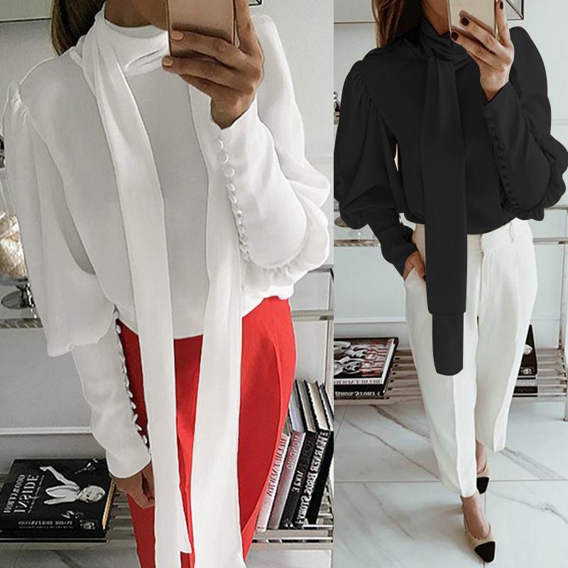 Celmia Women White Blouse 2020 Turtleneck Long Sleeve Office Ladies Shirts Casual Long Tie Solid Blusas Femininas Plus Size Tops