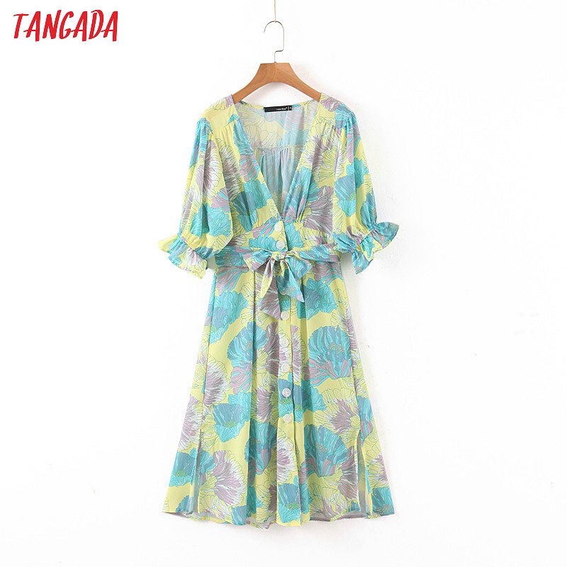 Tangada Fashion Women Flowers Print Summer Dress V Neck Short Sleeve Ladies Vintage OL Work Dress Vestidos 1J14