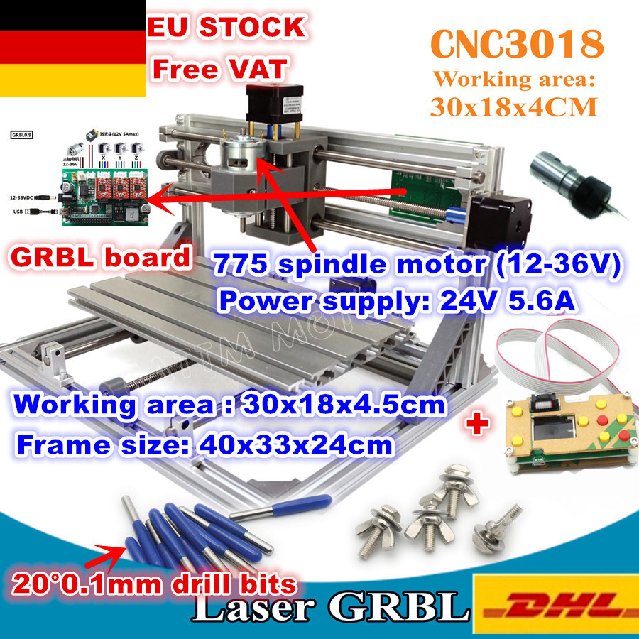 [EU Free VAT]3 Axis 3018 GRBL Control DIY CNC Machine Pcb Pvc Milling Machine Wood Router Laser Engraving+off-line Controller