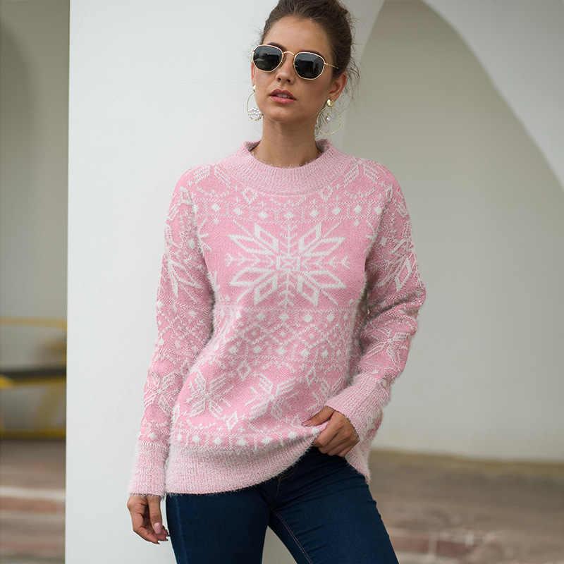 Mujer Navidad suéter Tops de manga larga jersey de impresión de ropa de Festival de nieve suéter