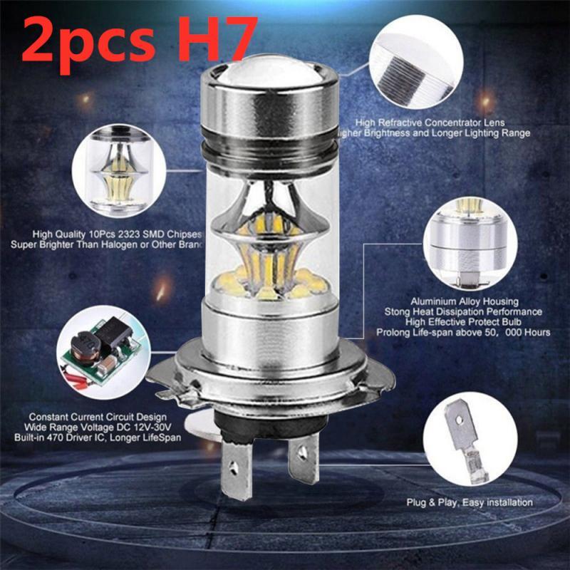 2 шт. H7 светодиодный лампы 100 Вт, 20 Вт, Автомобильный светодиодный SMD светодиодный Авто Обратный 6000K светодиодный противотуманный фонарь/вожд...