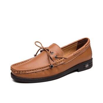 Classic Comfortable Men Casual Shoes Slip On Loafers Men Shoes Split Leather Shoes Men Flats Hot Sale Moccasins Shoes Plus Size