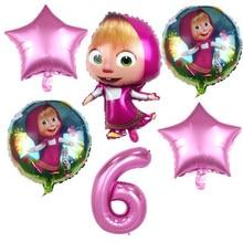 6 pçs menina e urso tema dos desenhos animados 32 polegada rosa número folha balões festa de aniversário decorações suprimentos balões de hélio fornecimento