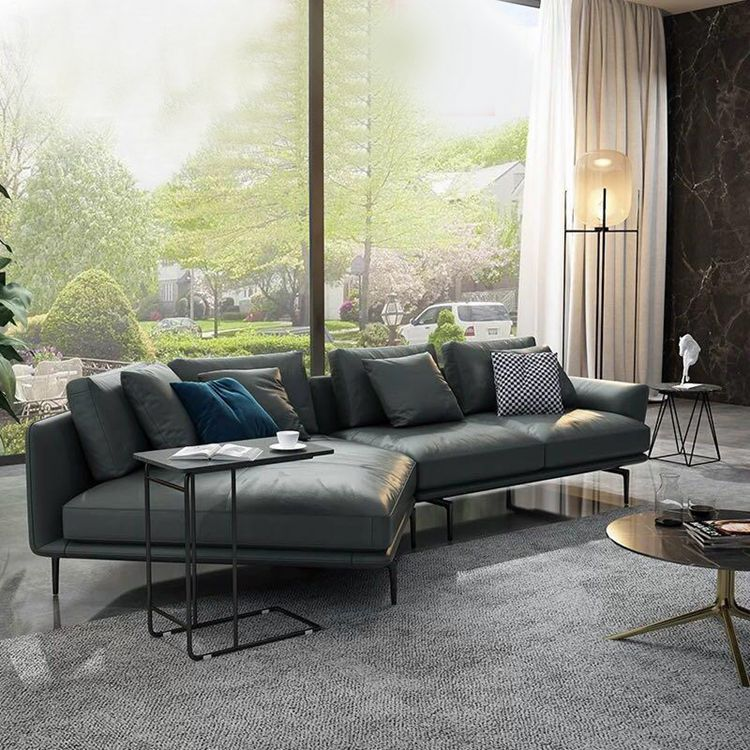 leather sofa modern minimalist living room furniture SOFA Nordic corner leather sofa living room couch image