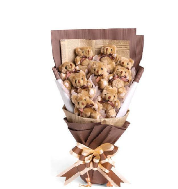 Lovely 12CM Mini Brown Ribbon Teddy Bear Plush Soft Toy Kids Children Birthday Gift