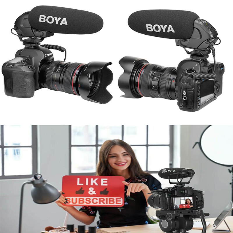 BOYA BY-BM3031 On-Camera Microphone PAD Switch: -10dB, 0, 20dB & 3.5mm Input for DSLR Cameras, Video Cameras, Recorders image