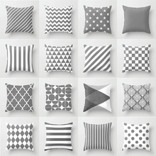 Pillow case 45 45 Modern minimalist gray geometric printed polyester pillowcase Square decorative pillowcase