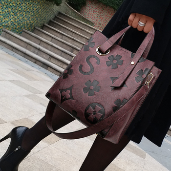 Fashion Flower Patter Handbags for Women Genuine Leather Ladies Single Shoulder Bag Casual Tote Bags Large Capacity Louis Brand