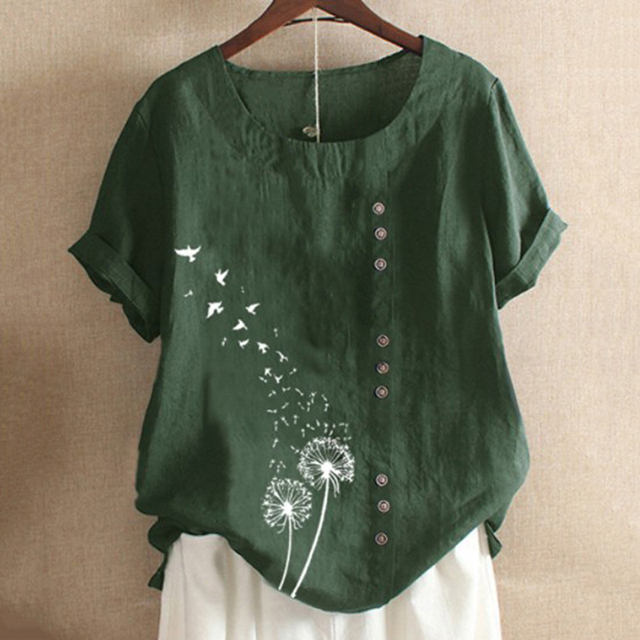Brand Blouses Woman Clothing Summer Office Lady Big Size Tunic Tops 2021 Casual Short Sleeve Print Shirt Blouse Blusa Feminina 5