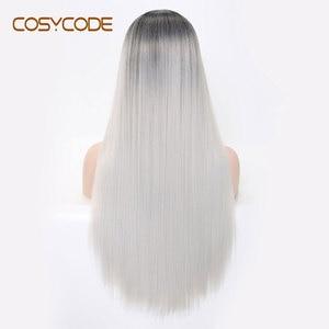 Image 4 - COSYCODE синтетический длинный прямой парик для женщин, 24 дюйма, средняя часть, серебристый, не кружевной, косплей, костюм, парик, термостойкий, Хэллоуин