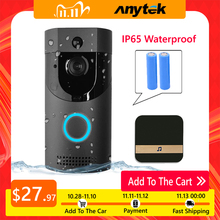 Anytek B30 WIFI 초인종 B30 IP65 방수 스마트 비디오 도어 차임 720P 무선 인터콤 전나무 알람 IR 야간 투시경 IP 카메라