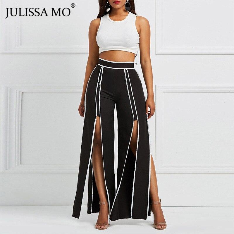 JULISSA MO Black Striped   Wide     Leg     Pants   Women Autumn High Waist Split Causal Loose Long Trousers Female Elegant OL Work   Pants