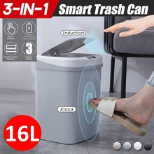 Poubelle intelligente à capteur sans fil, poubelle automatique, sans contact, pour salle de bains, toilettes, cuisine, déchets ménagers