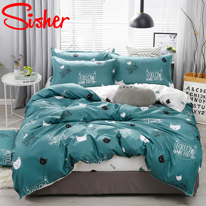 Sisher Nordic Plaid Bedding Set Queen Size Cute Cartoon Animal Quilt Sets For Children Single Double King Geometric Bed Linens