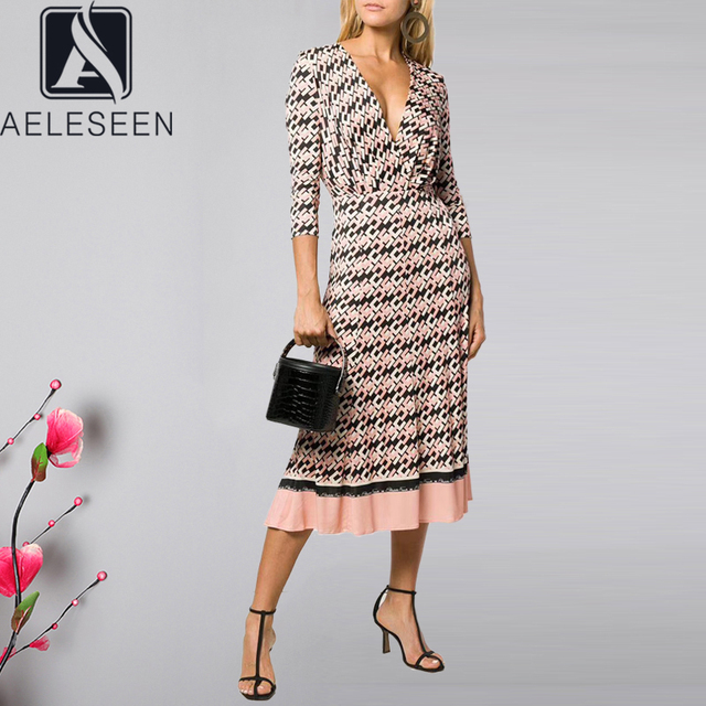 AELESEEN Vintage Letters Print Dress Womens Long Sleeve Spring Autumn Party V Neck Belt Pleated Ladies Runway Fashion Dress