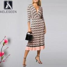 AELESEEN Vintage harfler baskı elbise kadın uzun kollu bahar sonbahar parti v yaka kemer pilili bayanlar pist moda elbise