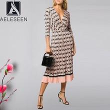 AELESEEN خمر خطابات طباعة فستان المرأة طويلة الأكمام الربيع الخريف حفلة الخامس الرقبة حزام مطوي السيدات المدرج فساتين راقية
