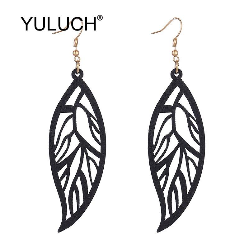 YULUCH 2019 Pop Hollow Wooden Leaf Pattern Long Dangle Earrings Fashion Jewelry For Women Wedding Party Ethnic Pendant Earrings