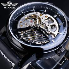 Winner Fashion Sports Mechanical Watch Male Automatic 3D Black Analog Genuine Leather Belts Men Watches Clock Relogio Masculino