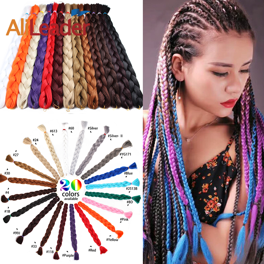 AliLeader Pure Color Braiding Hair One Piece Long High Temperature Fiber Jumbo Braid Synthetic Hair Extensions