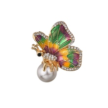 Gariton Fashion Vintage Handmade Zinc Alloy Enamel Colorful Butterfly Pearl Brooches For Women Pins And