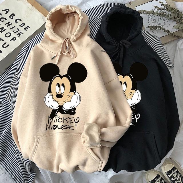 Disney Women Hoodies Minnie Mickey Mouse Hoodies Cartoon Tops Long Sleeve Pockets Sweatshirts Fashion Hooded Women 3