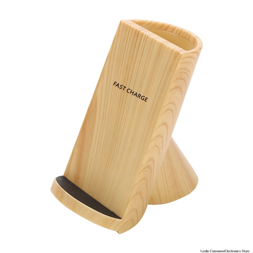 Chargeur rapide sans fil Mobile universel stylo en bois support pour téléphone Vertical Charge rapide Grain de bois chargeur sans fil livraison directe