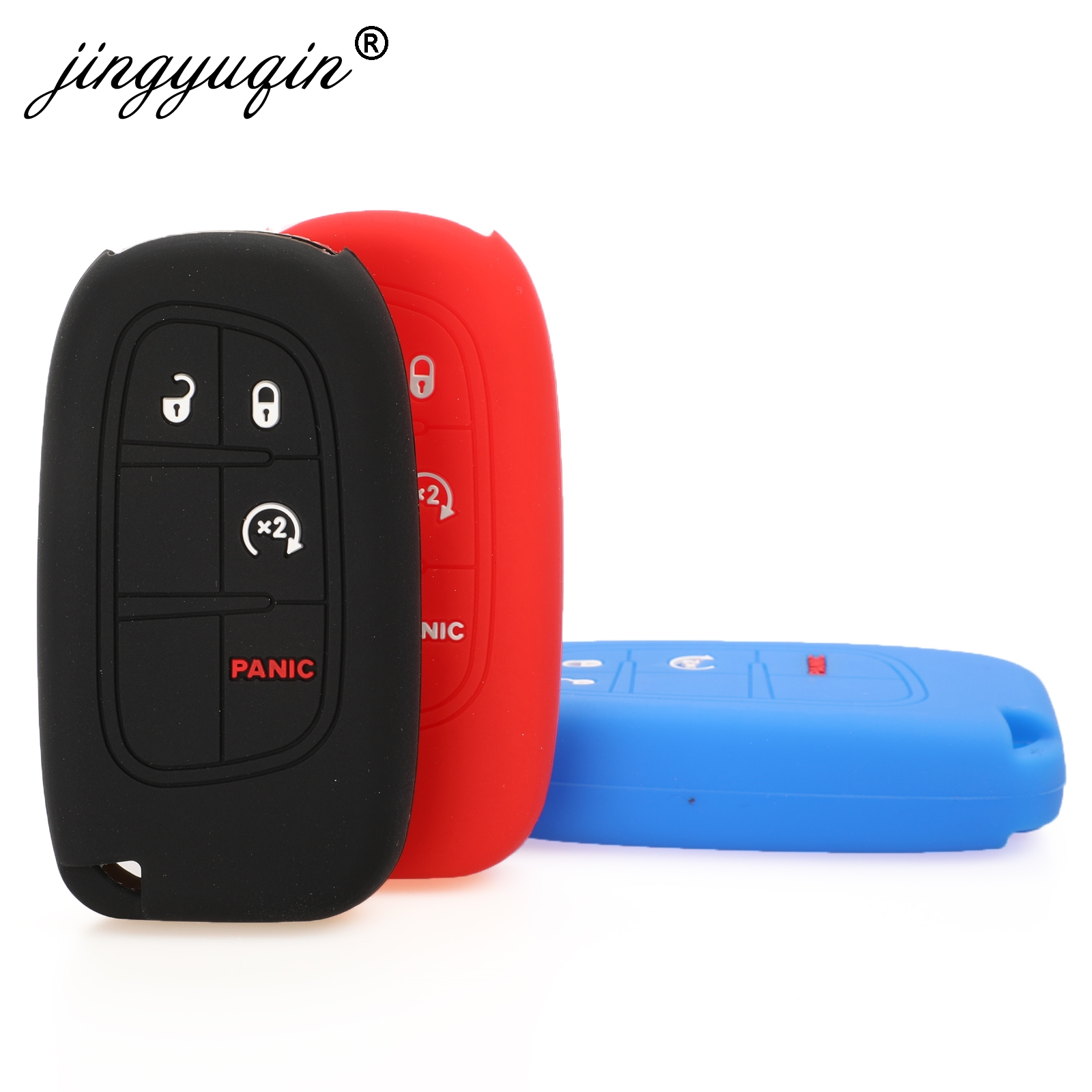 Jingyuqin Smart Key Case Fob Silicone Cover For Jeep Grand Cherokee Renegade Compass Dodge Charger Challenger Chrysler Fiat 4BTN