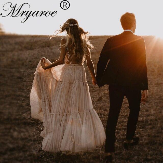 Mryarce Unique Wedding Dress Sleeveless V Neck Boho Hippie Style Whimsical Ruched Skirt Tulle Bridal Gowns