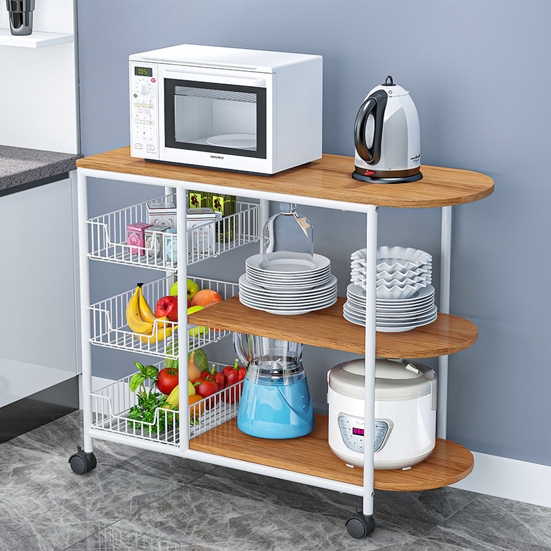 Kitchen Racks Floor Multi-layer Spice Rack Multi-function Countertop Microwave Oven Home Vegetable Storage Rack Dish Rack
