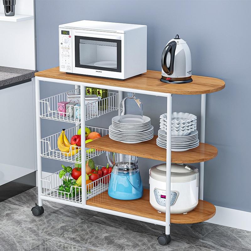 Kitchen Racks Floor Multi-layer Spice Rack Multi-function Countertop Microwave Oven Home Vegetable Storage Rack Dish Rack