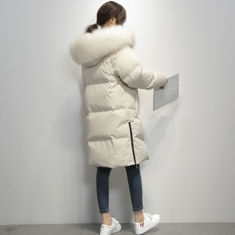 Winter Duck Down Jacket Women Long Down Coat Female Thick Jacket Clothes Ladies Large Raccoon Fur Hooded Warm Coat LW1717