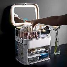Organizador de maquiagem com luz led, grande capacidade, rack para joias, organizador de cosméticos, batom e skincare, caixa de armazenamento de cosméticos