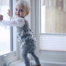 Осень, Новое поступление, хлопковый Однотонный свитер без рукавов на подтяжках, ползунки, боди для милых маленьких девочек и мальчиков