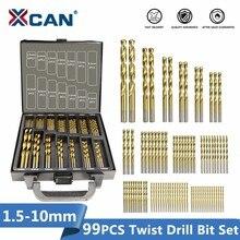 1XCAN HSS P6M5 טוויסט מקדח סט 99 חתיכות קוטר מ 1.5mm כדי 10mm טיטניום ציפוי עץ מתכת חור קידוח קאטר