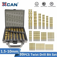 XCAN Juego de puntas de taladro en espiral HSS P6M5, 99 piezas de diámetro de 1,5mm a 10mm, revestimiento de titanio, cortador de perforación de agujeros de Metal y madera